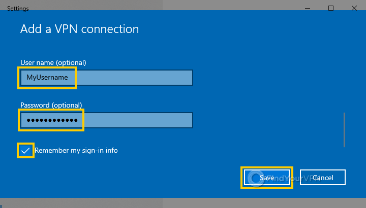 The Windows 10 VPN settings window with username and password