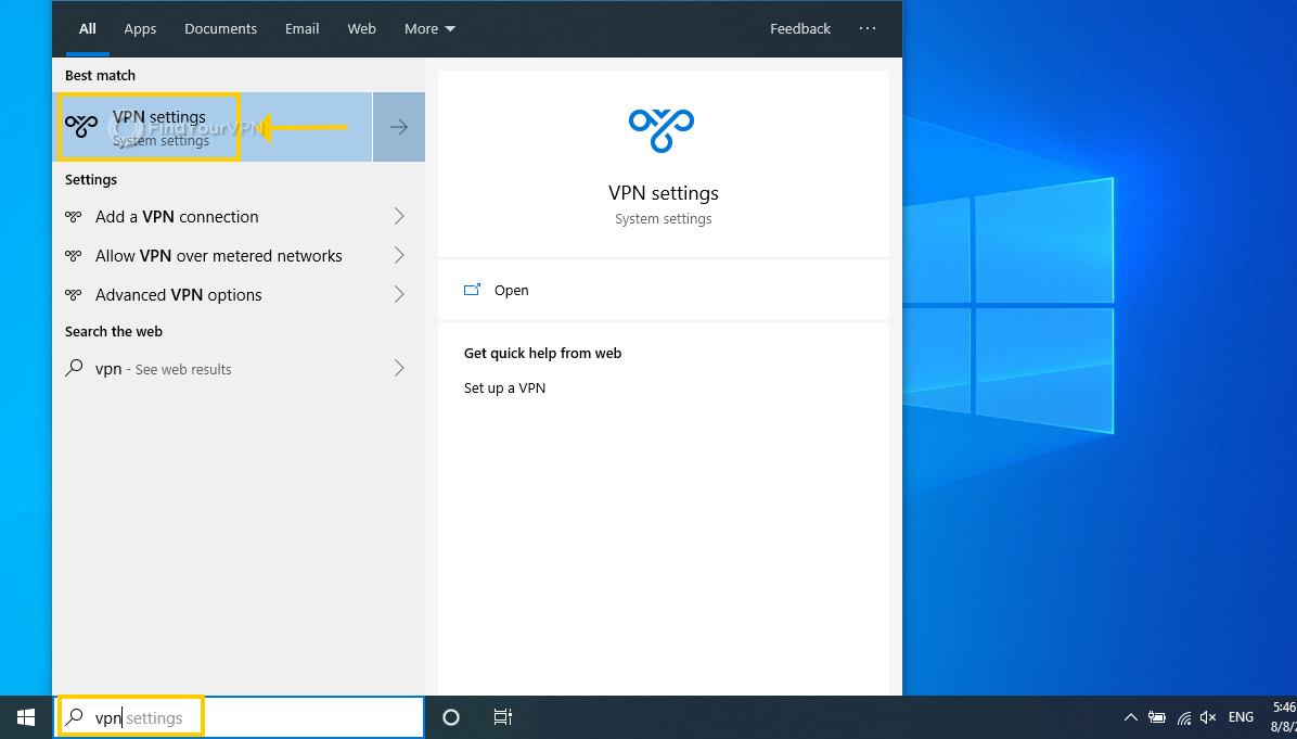 The Windows 10 search bar displays VPN settings