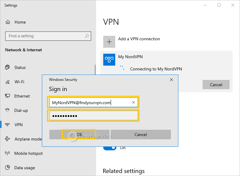 Windows highlights the sign-in options for NordVPN