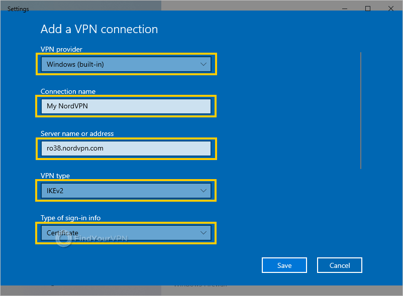 Windows shows the VPN properties window for NordVPN with IKEv2