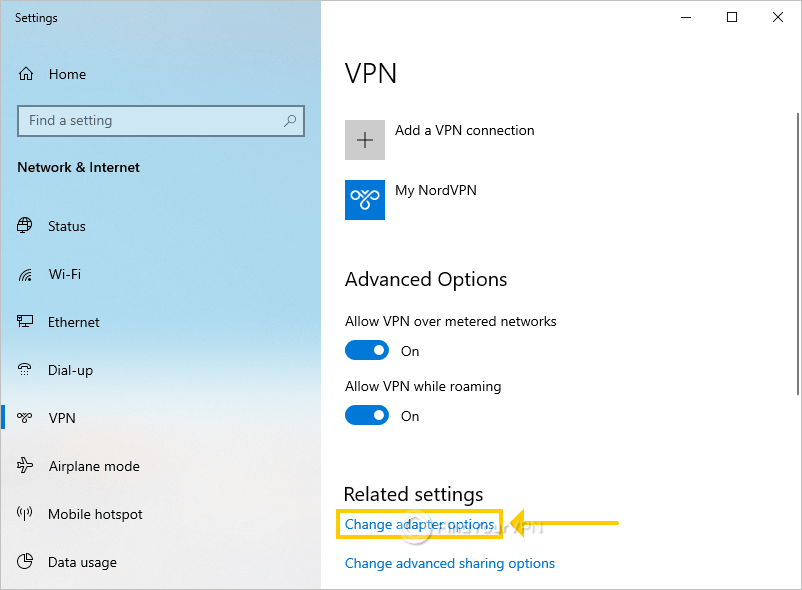 """The Windows VPN settings area highlights """"Change adapter options"""""""