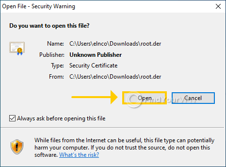 """The Windows Security warning for NordVPN""""s Root.der file"""