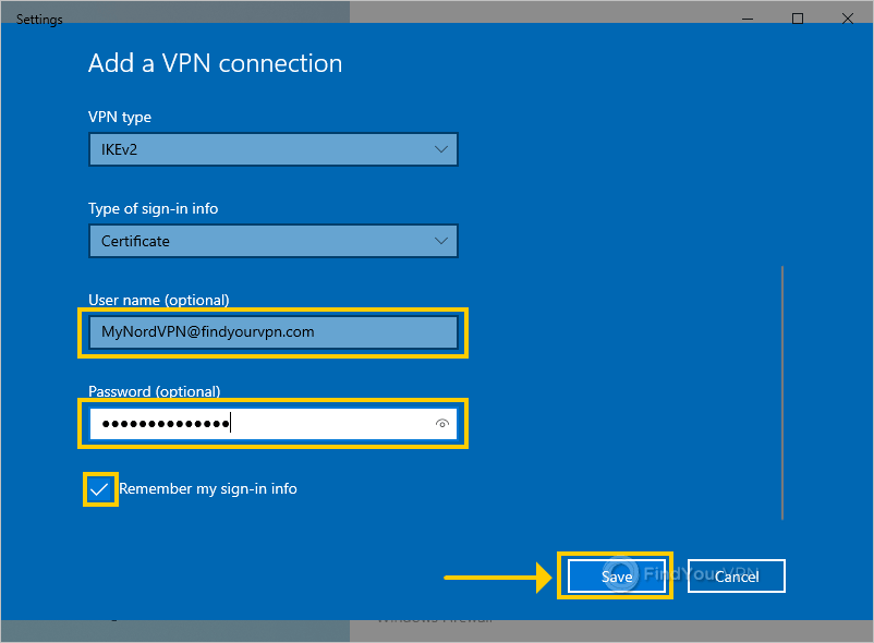 Windows shows the VPN properties window and highlights the username and password boxes for NordVPN with IKEv2