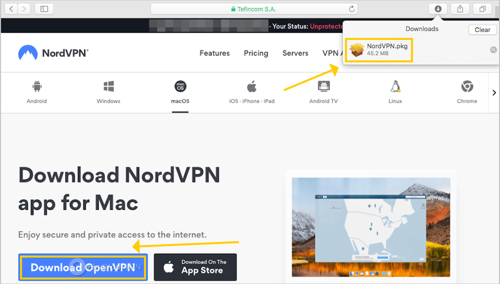 The NordVPN page shows the button to download OpenVPN for macOS