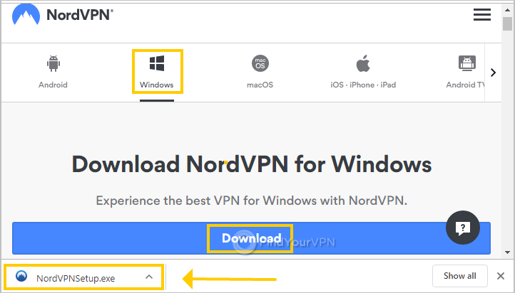 The NordVPN setup page for Windows