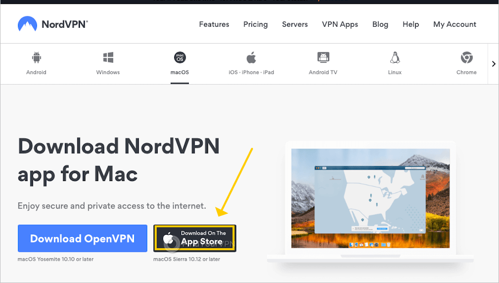 The NordVPN window shows a button to download NordVPN from the App Store
