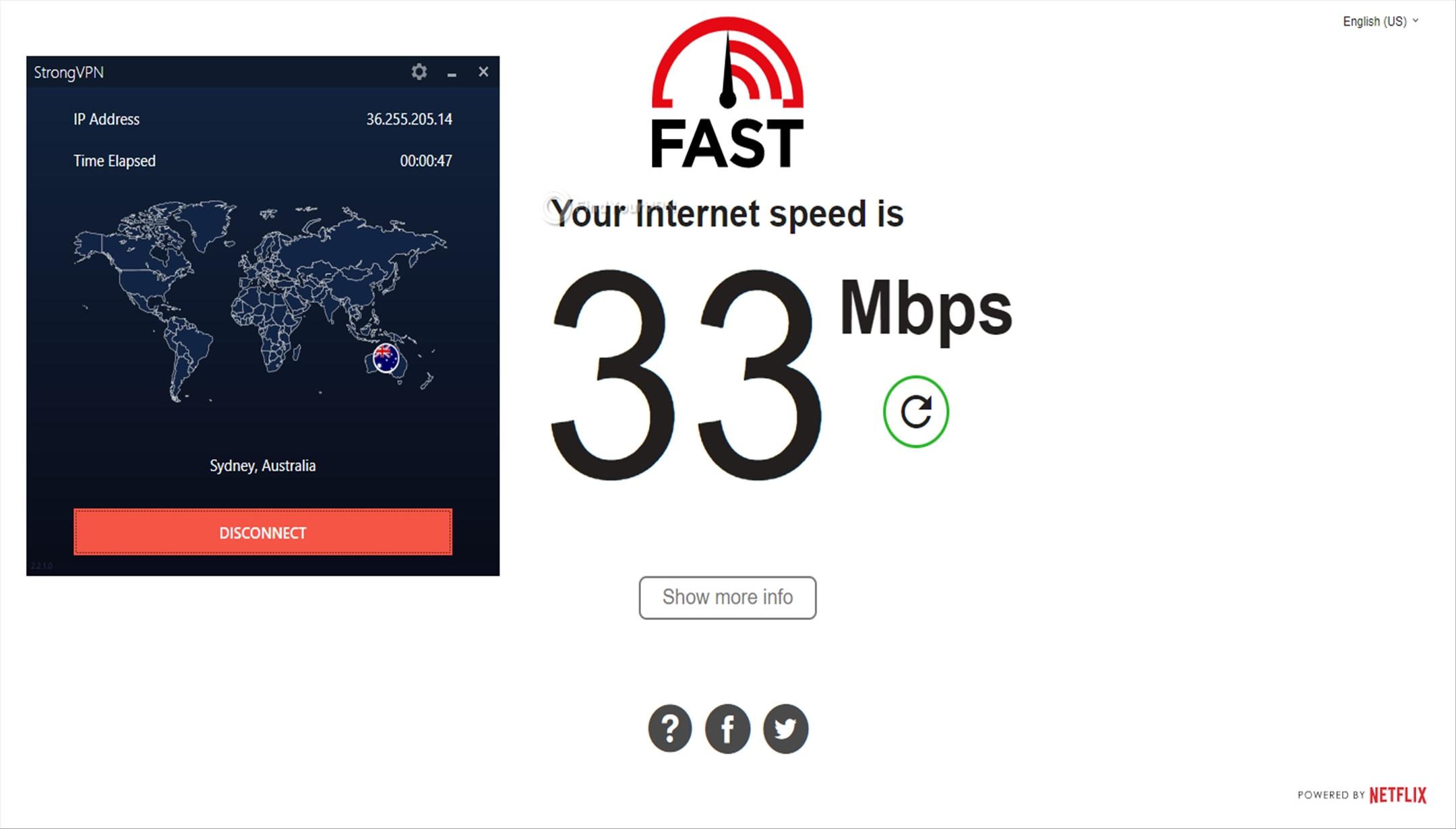 Speed test results for StrongVPN's Australia servers