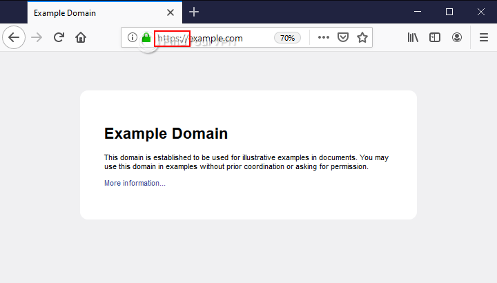 An HTTPS website example in Mozilla Firefox