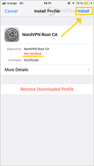 "iOS shows the NordVPN Root CA profile and ""Install"" button"