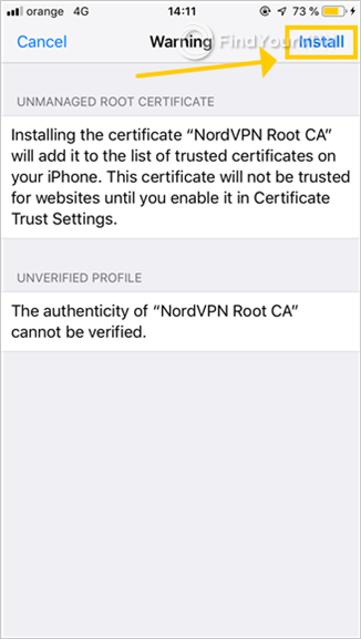 iOS shows a warning about installing unmanaged root certificates