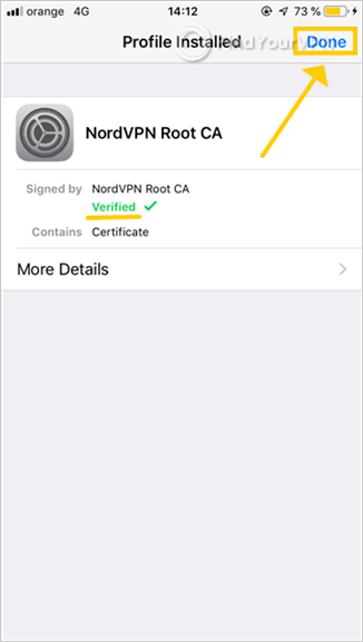 iOS shows that the NordVPN Root CA profile has been installed