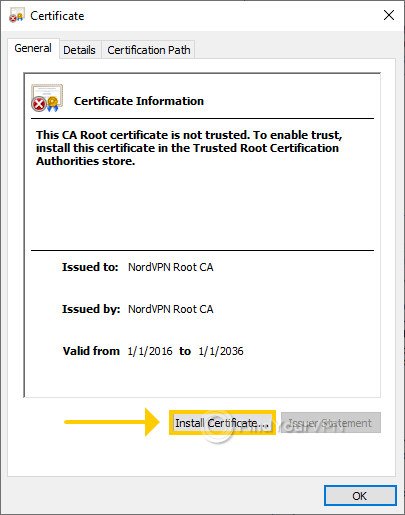 """The Windows Certificate Information dialog with """"Install Certificate"""" option"""