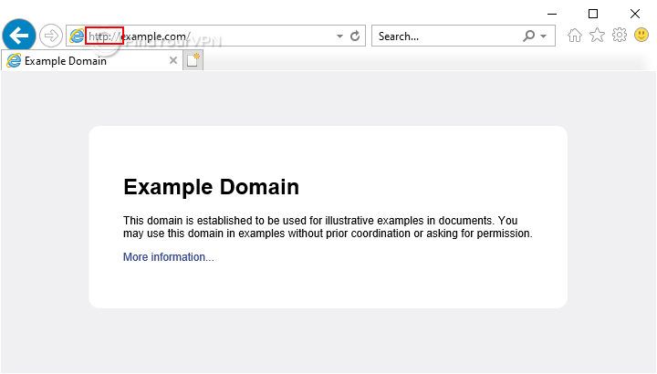 An HTTP website example in Internet Explorer