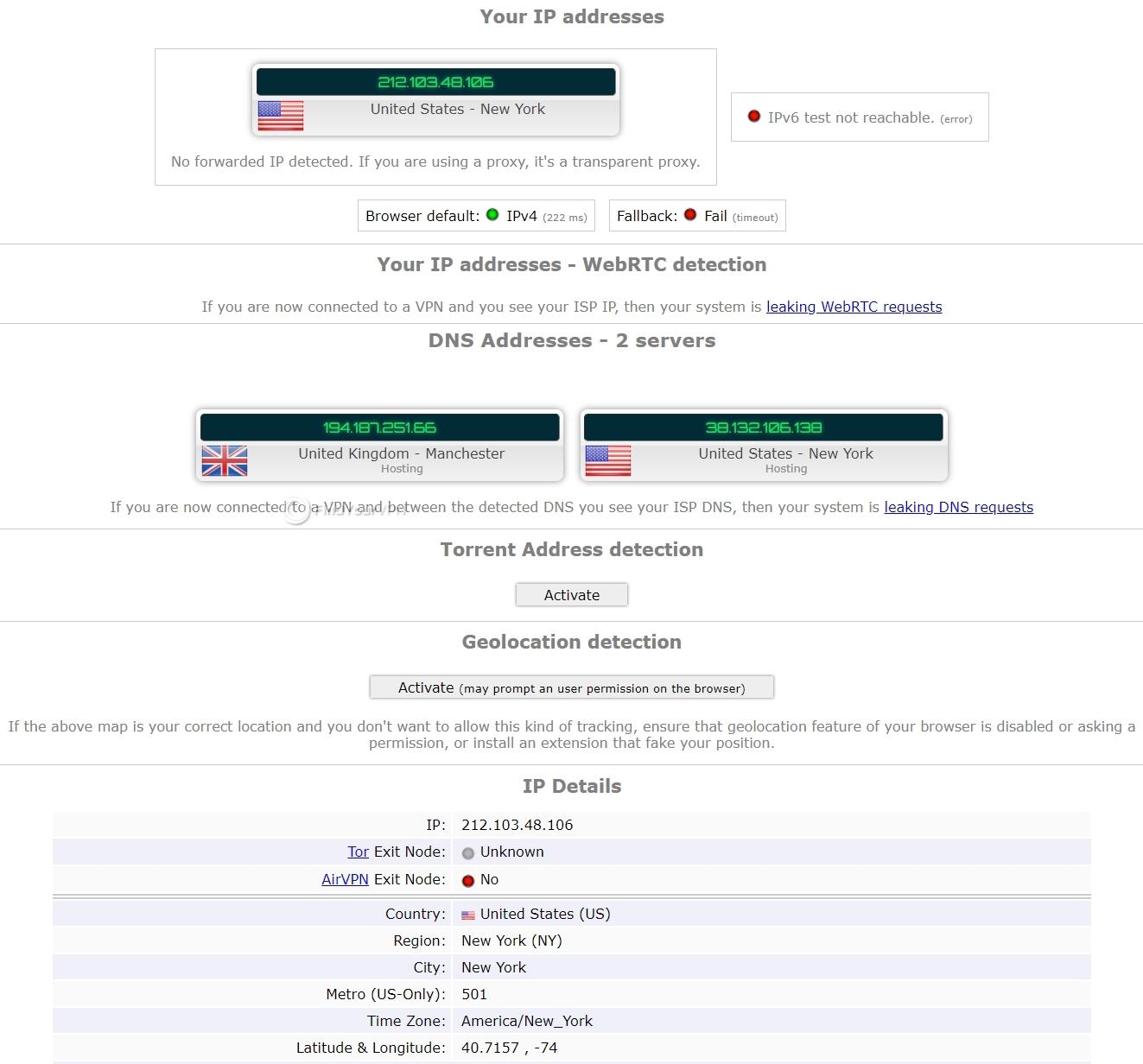 ZenMate VPN security test results on ipleak website