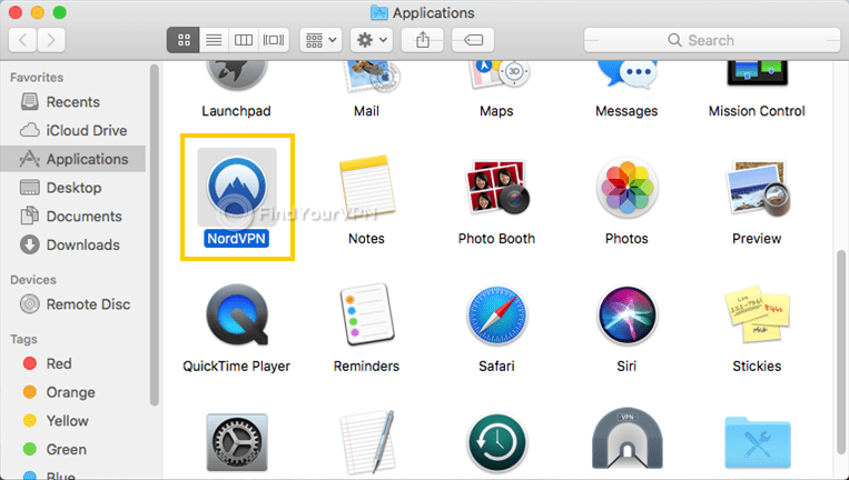 "macOS shows the ""Applications"" window with NordVPN highlighted"