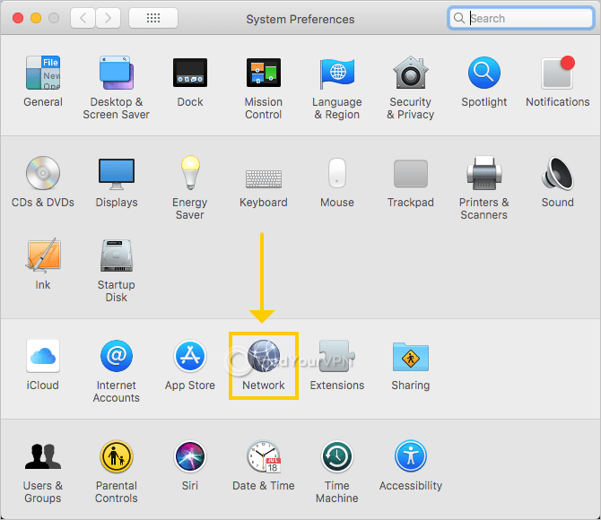 "macOS shows the ""System Preferences"" window with highlighted ""Network"" option"