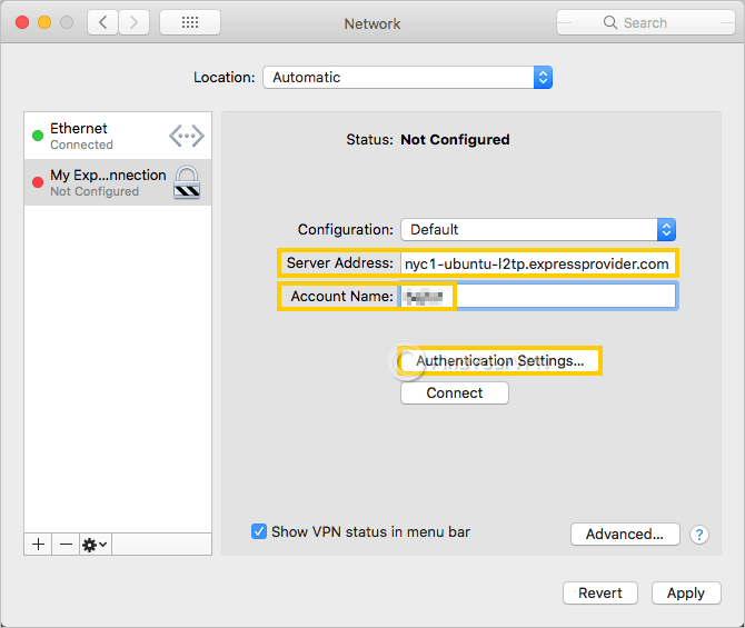 macOS shows the VPN connection settings that you must configure
