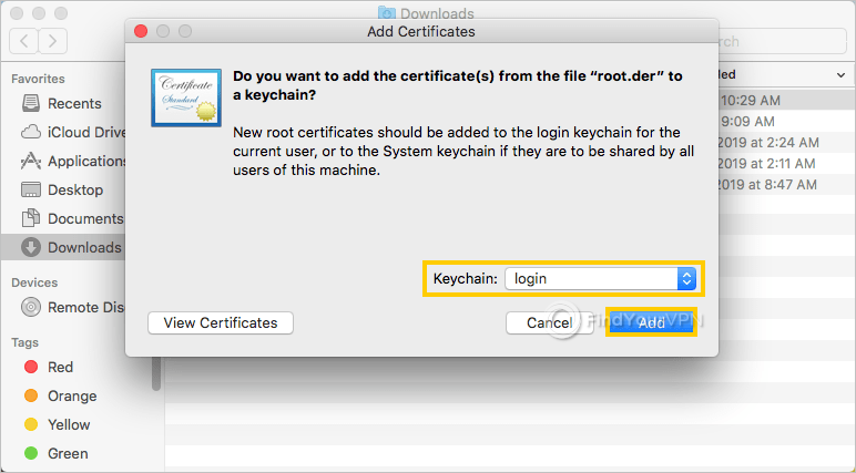 macOS shows the window for adding a new certificate