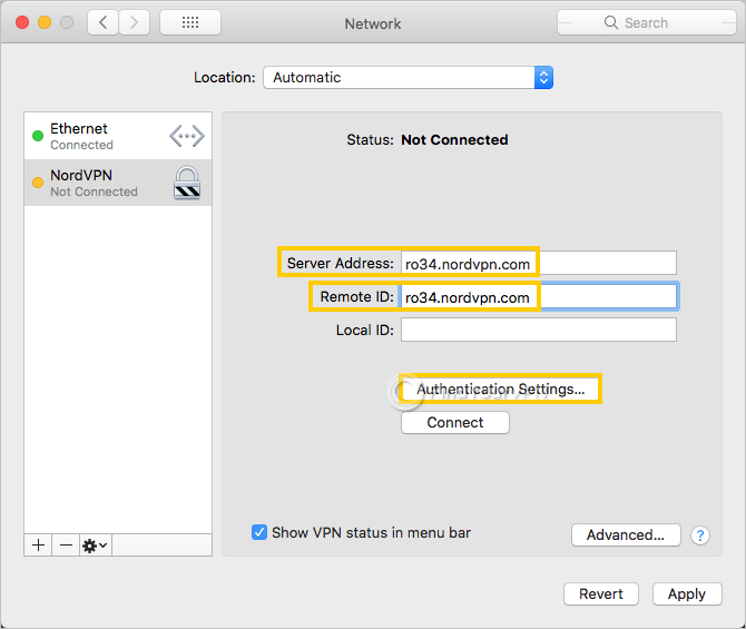 "macOS shows the ""Network"" window with highlighted ""Server address"" and ""Remote ID"""