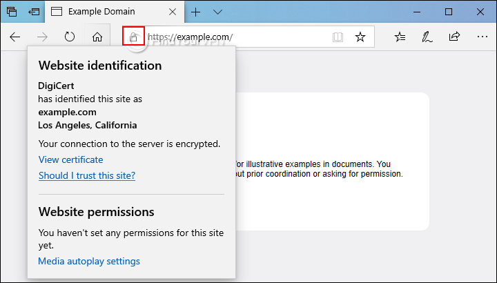 An HTTPS website example with site information in Microsoft Edge