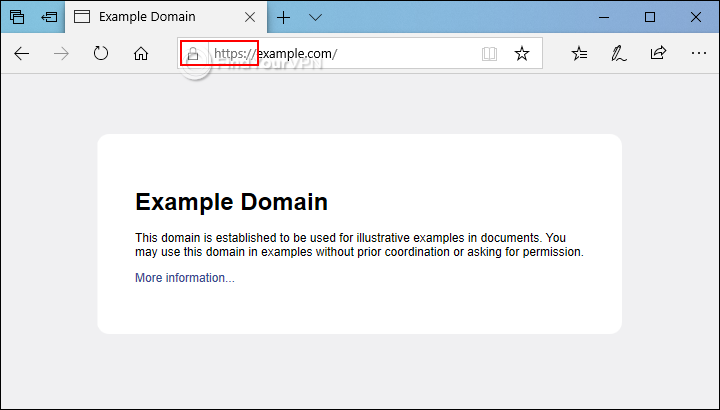 An HTTPS website example in Microsoft Edge