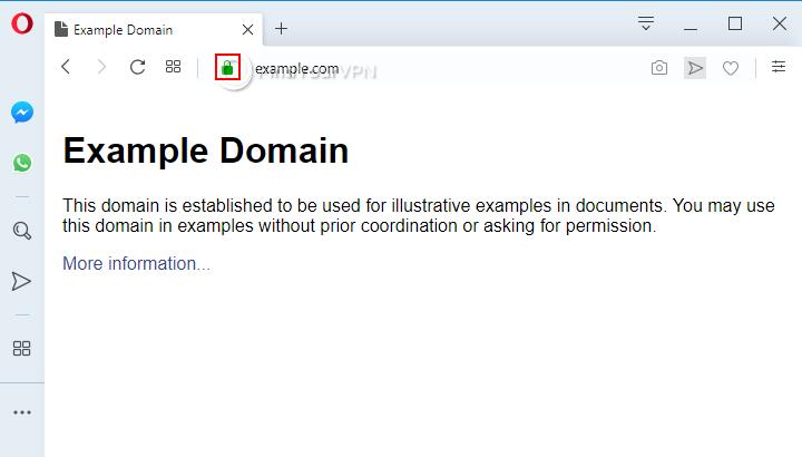An HTTPS website example in Opera