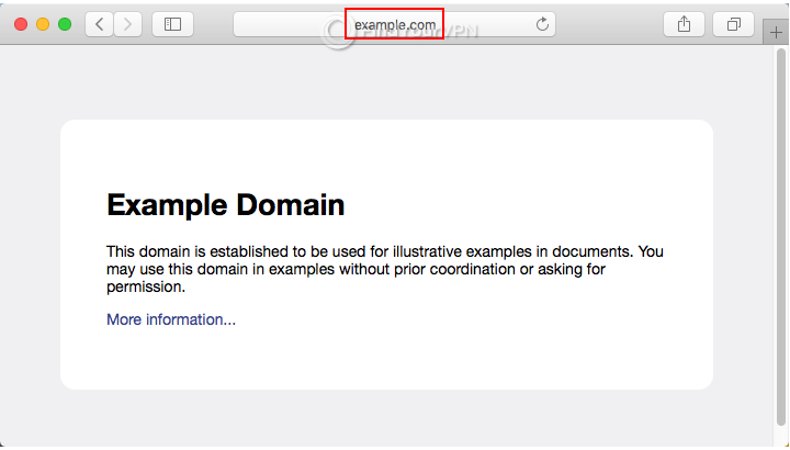 An HTTP website example in Safari