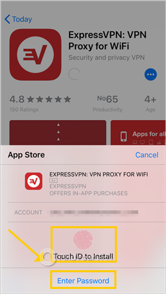 App Store requires your touch ID or password to install ExpressVPN