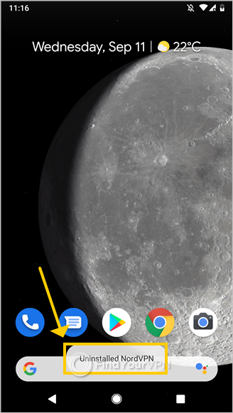 "Android shows the ""Uninstalled NordVPN"" message"