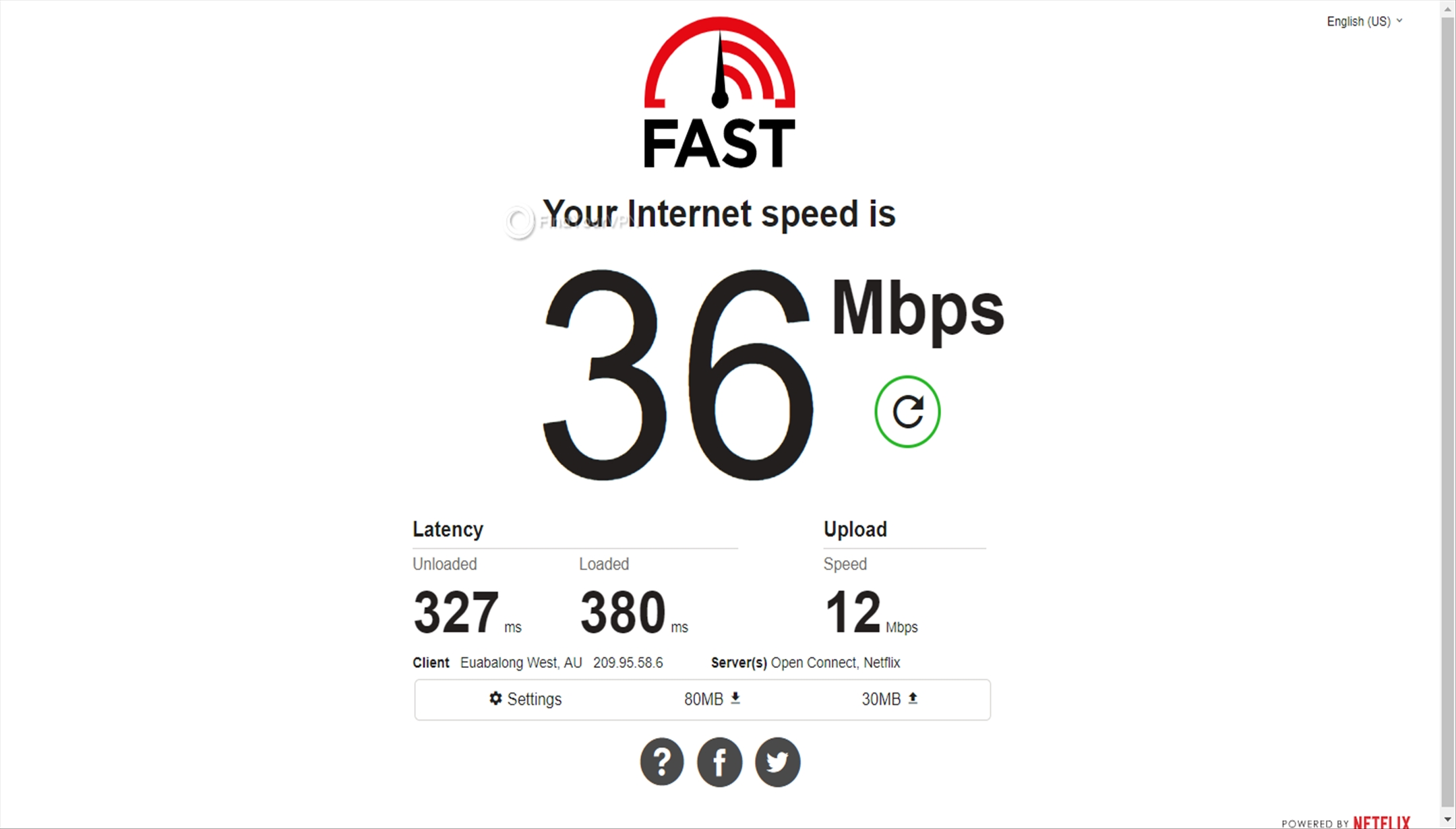 Speed test results Avast SecureLine VPN Australia