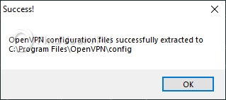 The confirmation message after installing BTGuard's configuration files