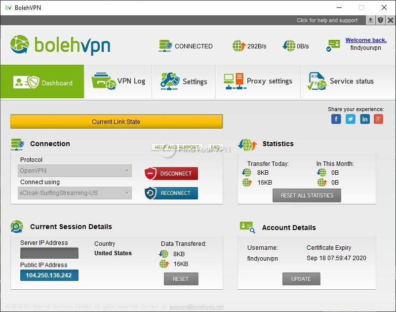 The main screen of BolehVPN