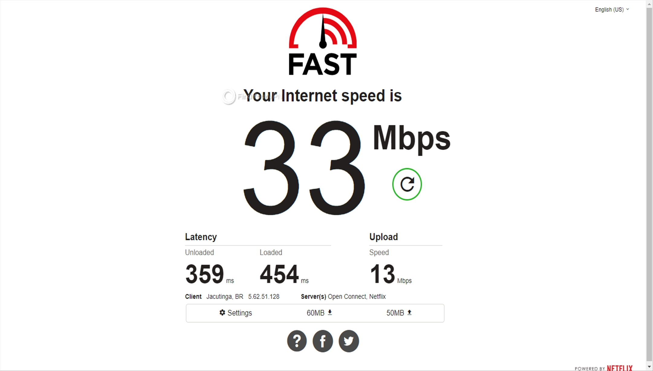 Speed test results for Avast SecureLine VPN Brazil