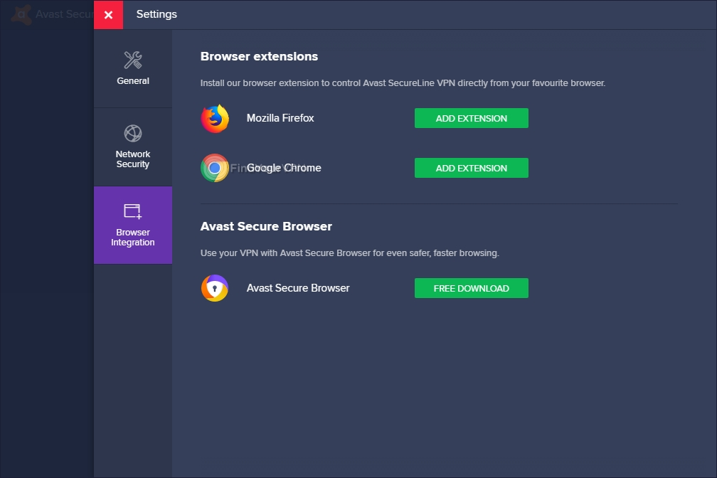 Avast SecureLine VPN's Browser Integration tab