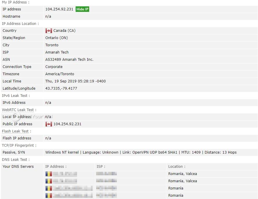 BTGuard's BrowserLeaks results