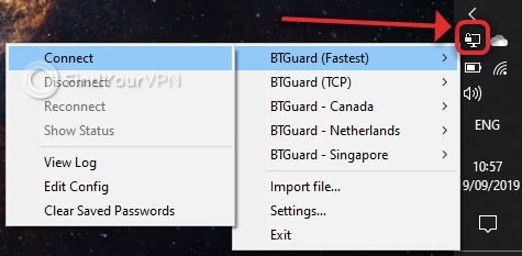 You can choose from 5 BTGuard servers