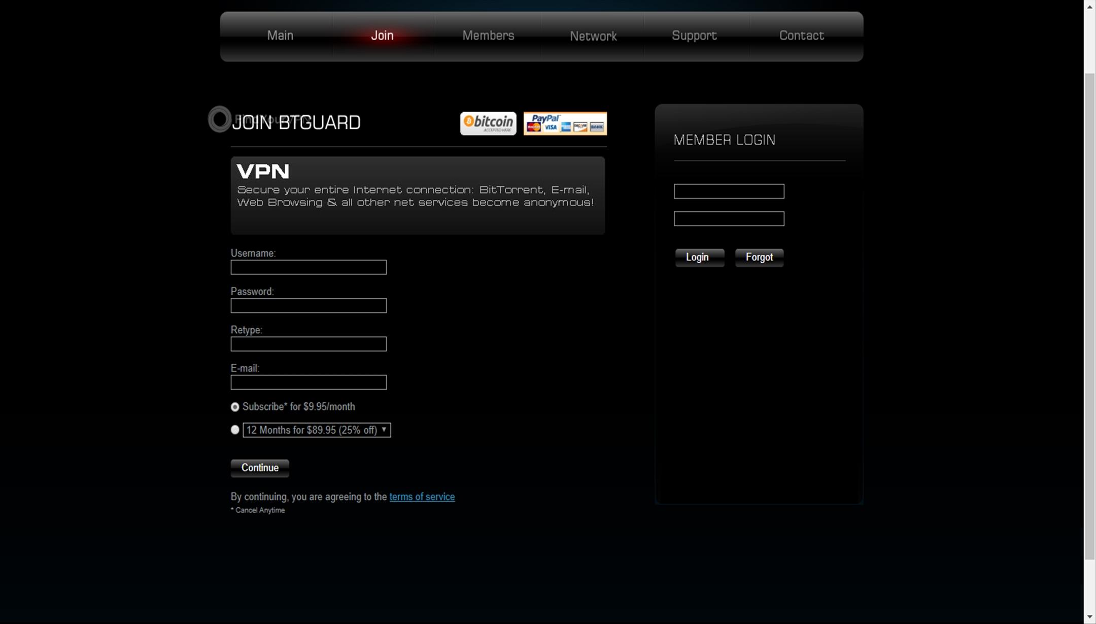 BTGuard credentials creating account
