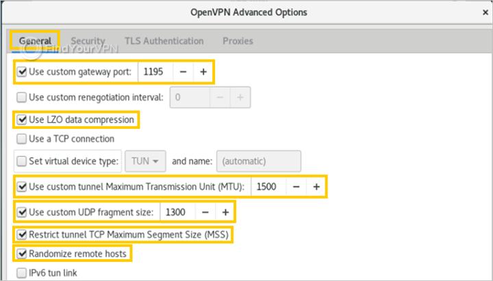 Debian showcases advanced general options for OpenVPN