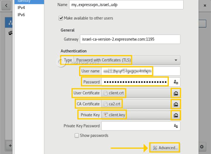 Debian showcases the OpenVPN settings for Network Manager