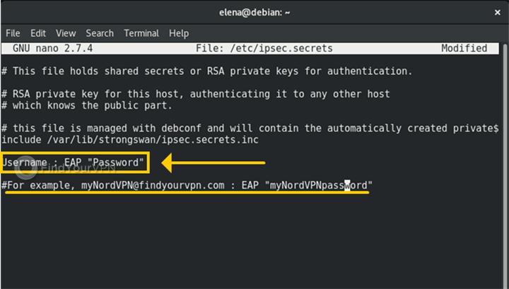 A Terminal in Debian is showcasing StrongSwan's ipsec.secrets file contents