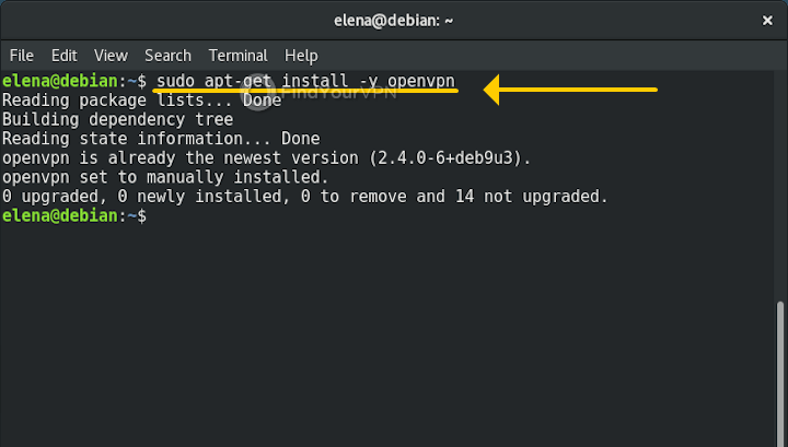 The Terminal shows how Debian is installing OpenVPN