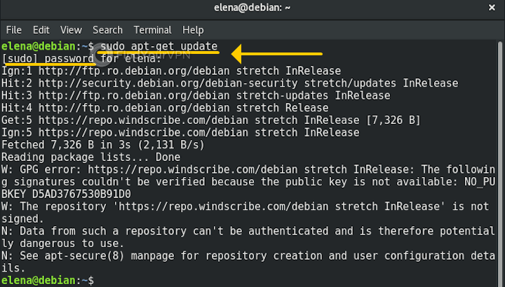 Debian performs a system update