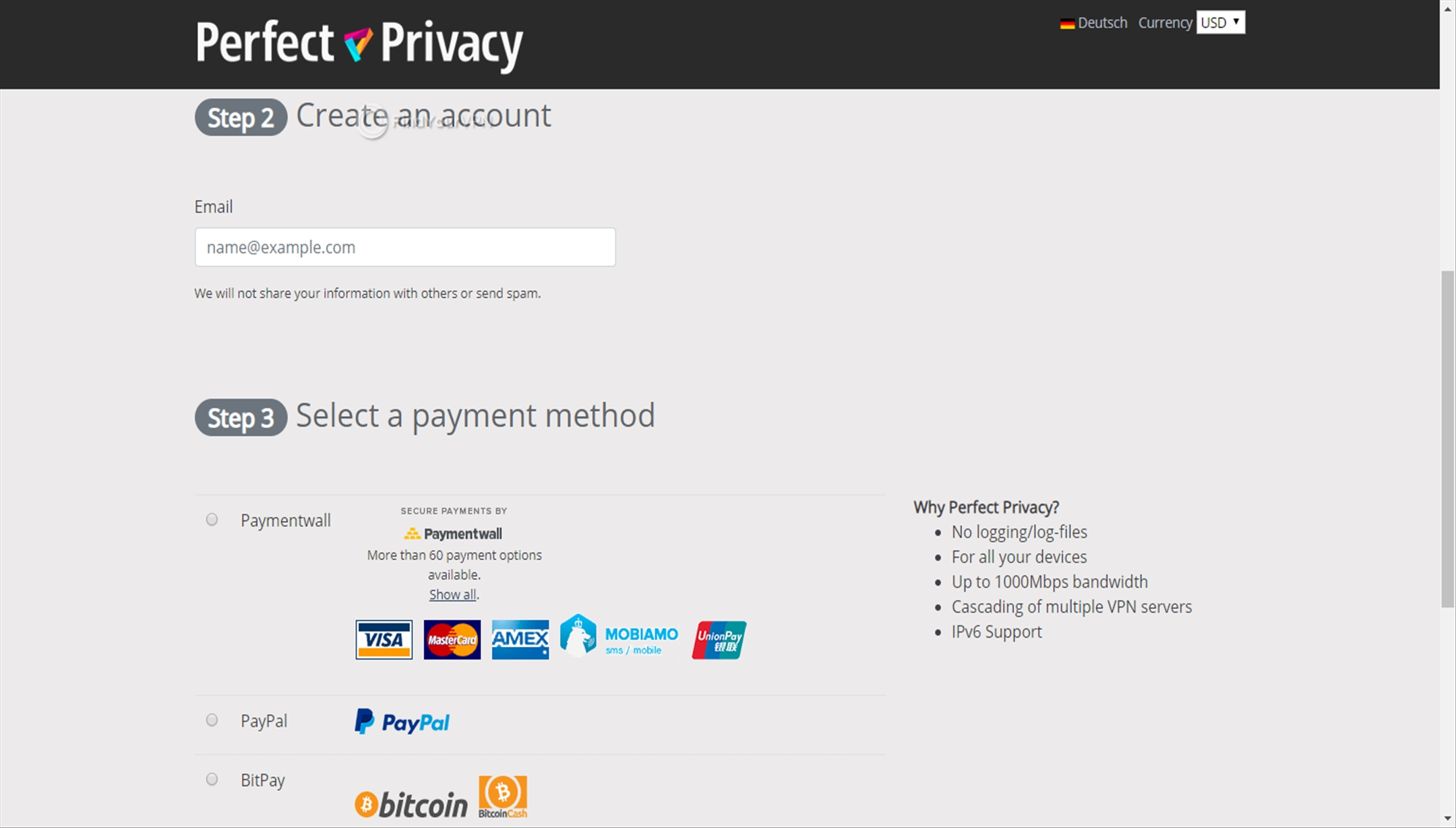 Email and payment type for Perfect Privacy VPN