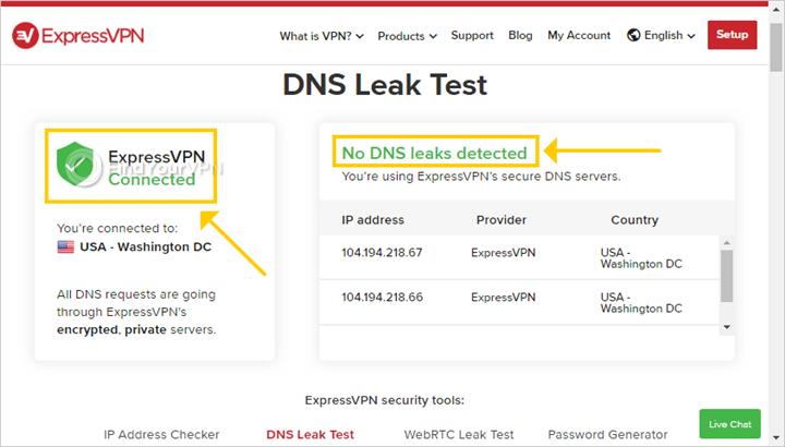 ExpressVPN shows the DNS leak test results