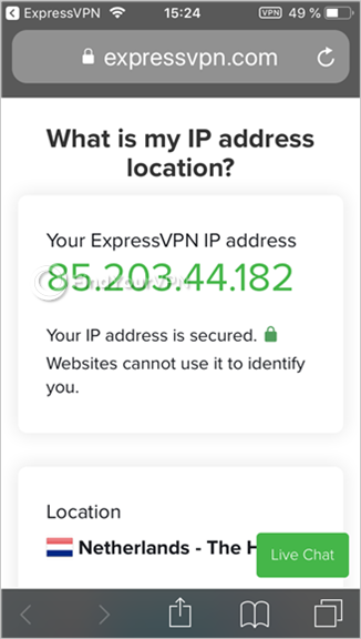 Safari web browser shows the IP address checker results for ExpressVPN