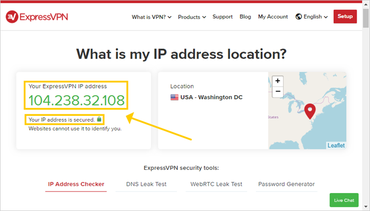 The ExpressVPN IP address checker services shows a VPN server address