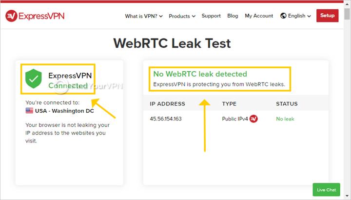 ExpressVPN shows WebRTC leak test results in the web browser