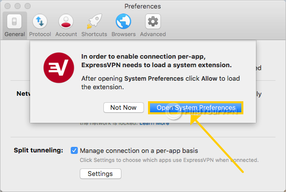ExpressVPN asks for permission to load a macOS extension for split tunneling