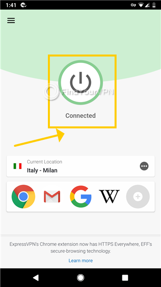 The ExpressVPN main screen on Android