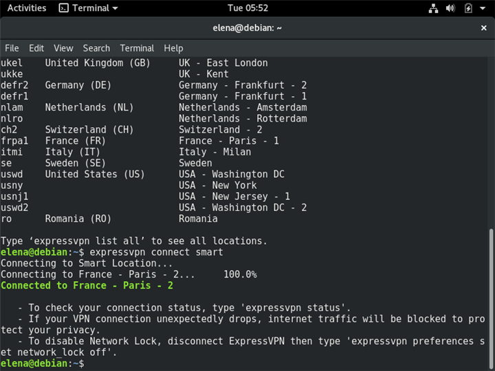 A Terminal in Linux shows how to connect ExpressVPN to the Smart Location